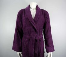 400gsm Shalw Collar Bathrobe In Aubergine
